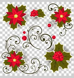 christmas holly berry set isolated from the vector image vector image