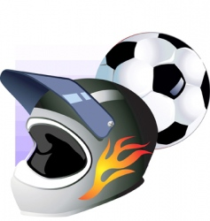 foot ball and helmet vector image vector image