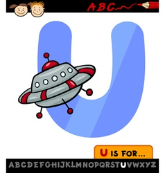 letter u with ufo cartoon vector image
