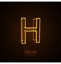 Neon 3D letter H vector image vector image
