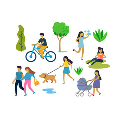 people in urban park outdoor activities vector image