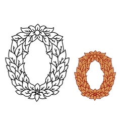 Uppercase alphabet letter O in leaves and flowers vector image