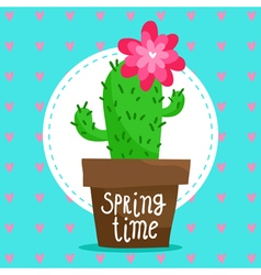 Card background with blooming cactus vector image