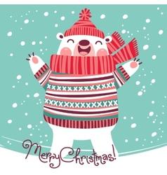 Christmas card with cute polar bear vector image
