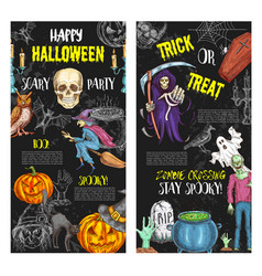 halloween trick or treat party posters vector image
