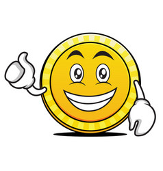 optimistic coin cartoon character style vector image vector image