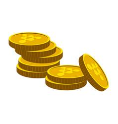 pile of golden bitcoins vector image