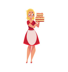 Woman in white apron holding layered birthday vector