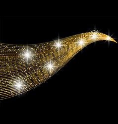 Abstract golden wave design element with shine vector