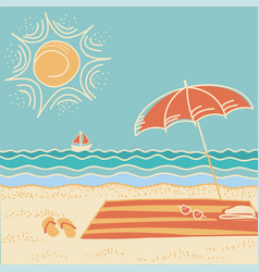 beach scene sea landscape vector image vector image