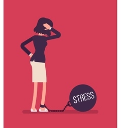 Businesswoman chained with a giant metall weight vector image vector image