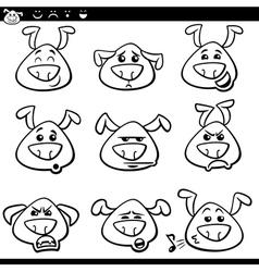 dog emoticons cartoon coloring page vector image vector image