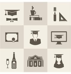 graduation icons vector image vector image