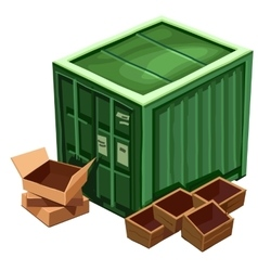 Large green container for goods and box vector image vector image