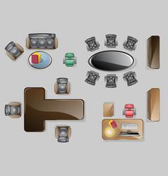 set top view office interior design vector image vector image