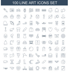 100 art icons vector image