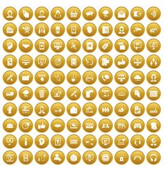 100 contact us icons set gold vector