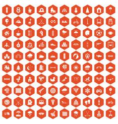 100 kids games icons hexagon orange vector image