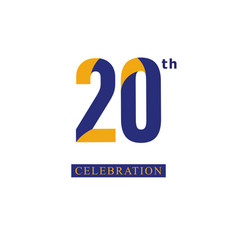 20 th anniversary celebration orange blue vector