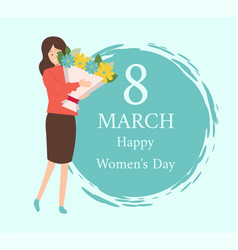8 march female with bloomings celebration vector image