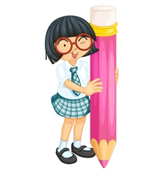 A girl with pencil vector