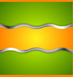 Abstract bright background with metallic waves vector image