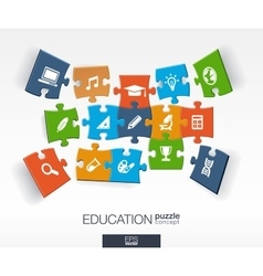 Abstract education background connected color vector image
