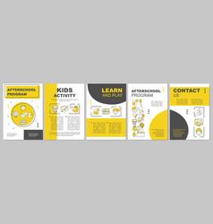 Afterschool program brochure template layout vector