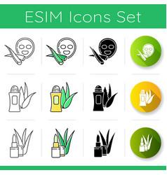 Aloe vera icons set facial sheet mask natural vector
