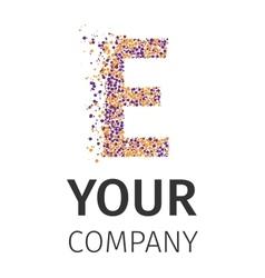 Alphabet particles logotype Letter-E vector
