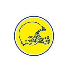 American Football Helmet Line Drawing Circle Retro vector image