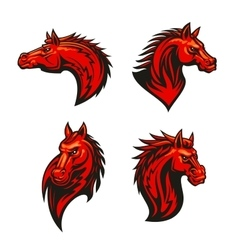 Angry flaming horse mascot set vector
