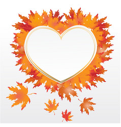 autumn leaves heart label vector image