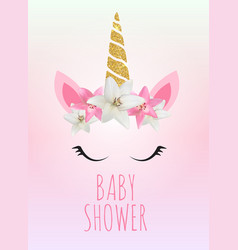 baby shower with unicorn invitation vector image