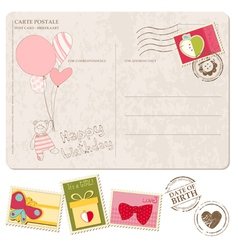 Bagirl arrival postcard with set stamps vector