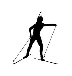 biathlete runs the distance black icon vector image