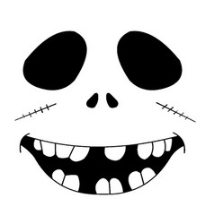 black and white monster face vector image