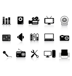 black audio video and photo icons vector image vector image