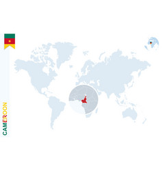 blue world map with magnifying on cameroon vector image