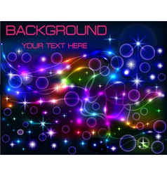 bright shiny neon background with circles vector image