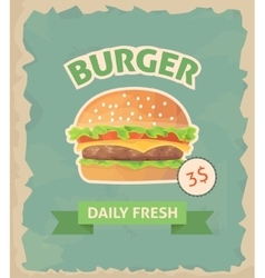 Burger retro poster vector