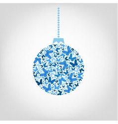 Christmas tree ball from blue butterfly vector