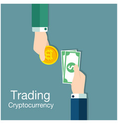 Concept of trading cryptocurrency of bitcoin vector