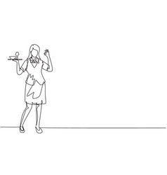 Continuous one line drawing waitress stood up vector