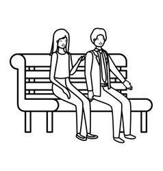 couple business sitting in park chair avatar vector image