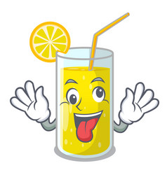 Crazy fresh lemon juice in glas cartoon vector