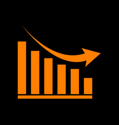 declining graph sign orange icon on black vector image