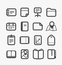 Different paper stuff icons set with rounded vector image
