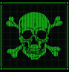 Digital skull on dark background vector