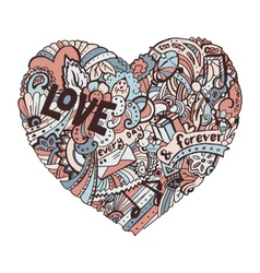 Doodle colorful heart with ornate ornament vector